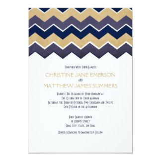 """Invitaciones del boda del zigzag de la marina de invitación 5"""" x 7"""""""