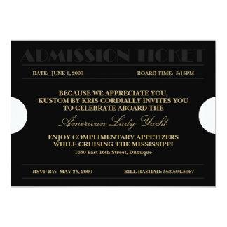 """Invitaciones del boleto 5x7 de la admisión del oro invitación 5"""" x 7"""""""