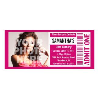 Invitaciones del boleto, boleto rosado invitaciones personales