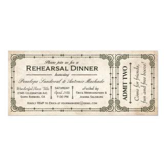 """Invitaciones del boleto de la cena del ensayo del invitación 4"""" x 9.25"""""""