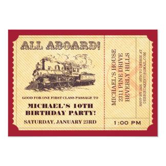 Invitaciones del boleto de tren invitación 12,7 x 17,8 cm