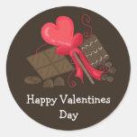 Invitaciones del chocolate de las tarjetas del día pegatinas redondas