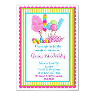 Invitaciones del circo del caramelo invitación