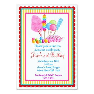 Invitaciones del circo del caramelo con acento comunicado personalizado