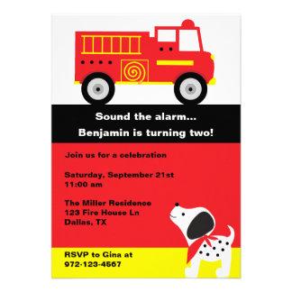Invitaciones del coche de bomberos