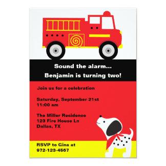"""Invitaciones del coche de bomberos invitación 5"""" x 7"""""""