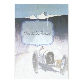 Invitaciones del coche de carreras del vintage comunicados personales