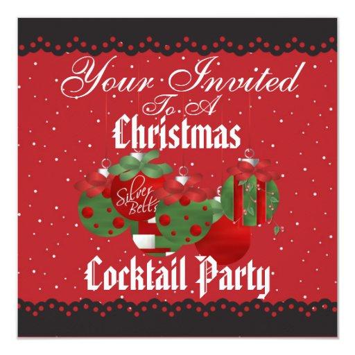 """Invitaciones del cóctel del navidad invitación 5.25"""" x 5.25"""""""
