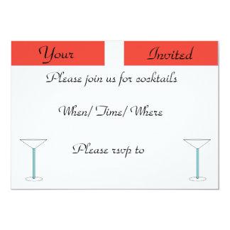 """Invitaciones del cóctel, raya recta invitación 5"""" x 7"""""""