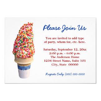 """Invitaciones del cono de helado invitación 4.5"""" x 6.25"""""""