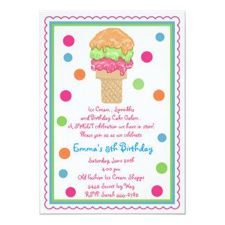 """Invitaciones del cono de helado invitación 5"""" x 7"""""""