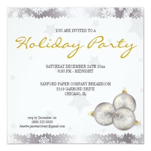 """Invitaciones del copo de nieve de la celebración invitación 5.25"""" x 5.25"""""""