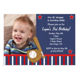 Invitaciones del cumpleaños de All Star del béisbo Comunicados Personales
