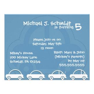 Invitaciones del cumpleaños de coches del muchacho anuncios personalizados