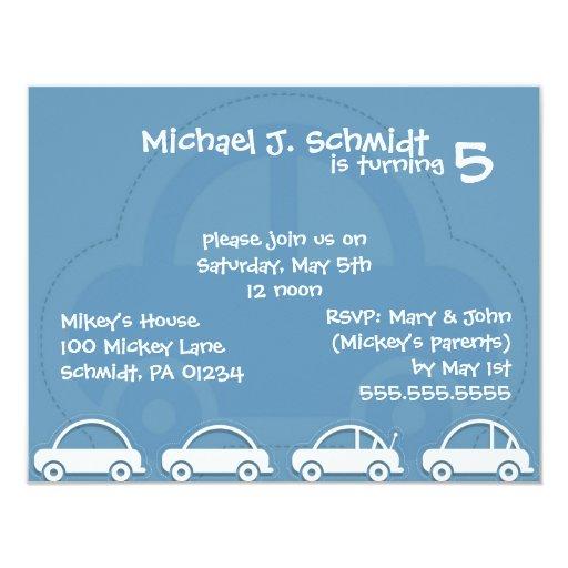 """Invitaciones del cumpleaños de coches del muchacho invitación 4.25"""" x 5.5"""""""