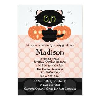 """Invitaciones del cumpleaños de Halloween del gato Invitación 5"""" X 7"""""""