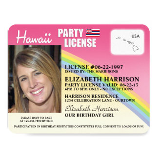 """Invitaciones del cumpleaños de Hawaii de la Invitación 4.25"""" X 5.5"""""""