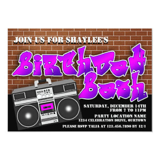 """Invitaciones del cumpleaños de Hip Hop de la Invitación 5"""" X 7"""""""