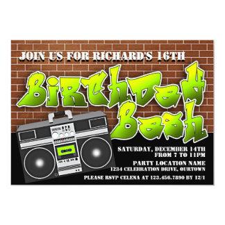 Invitaciones del cumpleaños de Hip Hop de la Invitación 12,7 X 17,8 Cm