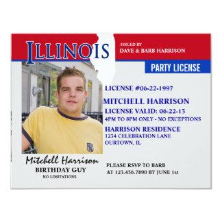 Invitaciones del cumpleaños de Illinois de la Invitación 10,8 X 13,9 Cm
