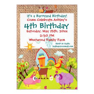 """Invitaciones del cumpleaños de la arpillera de los invitación 5"""" x 7"""""""