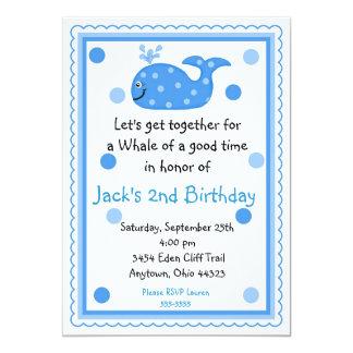 """Invitaciones del cumpleaños de la ballena invitación 5"""" x 7"""""""