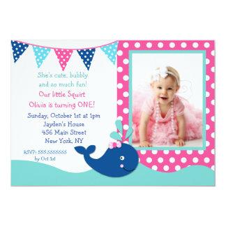 """Invitaciones del cumpleaños de la ballena para el invitación 5"""" x 7"""""""