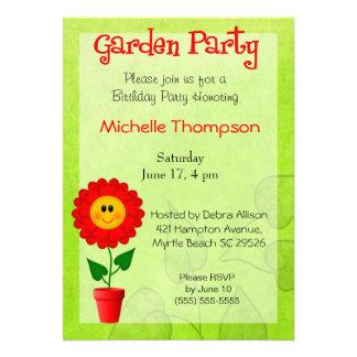 Invitaciones del cumpleaños de la fiesta de jardín