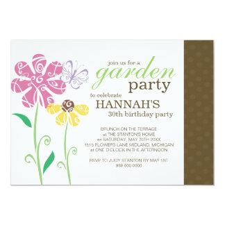 Invitaciones del cumpleaños de la fiesta de jardín invitación 12,7 x 17,8 cm