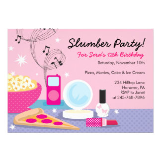 Invitaciones del cumpleaños de la fiesta de pijama comunicados personales