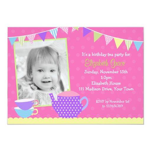 Invitaciones del cumpleaños de la fiesta del té comunicados