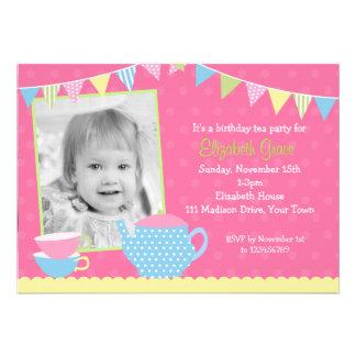 Invitaciones del cumpleaños de la fiesta del té comunicado personal