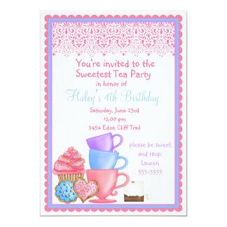 Invitaciones del cumpleaños de la fiesta del té anuncios personalizados