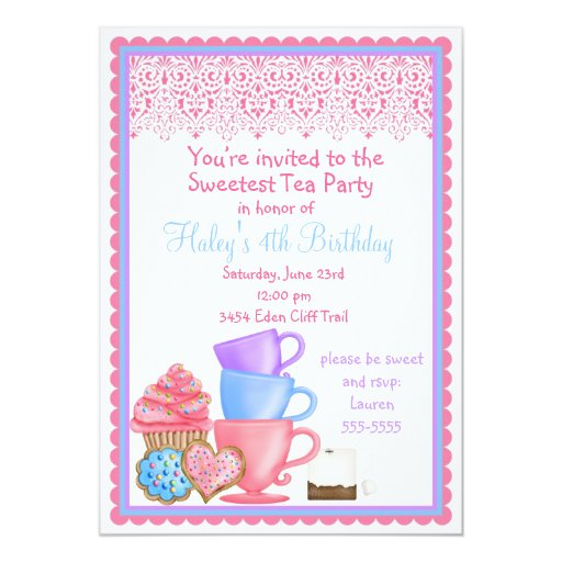 Invitaciones del cumpleaños de la fiesta del té invitación 12,7 x 17,8 cm