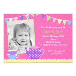 Invitaciones del cumpleaños de la fiesta del té co comunicados