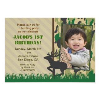 Invitaciones del cumpleaños de la foto de la caza invitación 12,7 x 17,8 cm