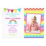Invitaciones del cumpleaños de la foto del arco ir comunicado personalizado