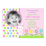 Invitaciones del cumpleaños de la foto del conejit invitación