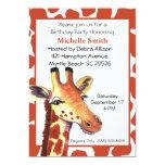 Invitaciones del cumpleaños de la jirafa invitación 12,7 x 17,8 cm
