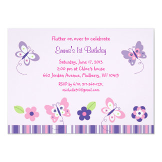 """Invitaciones del cumpleaños de la mariposa invitación 4.5"""" x 6.25"""""""