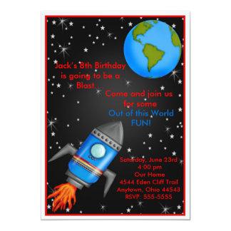 """Invitaciones del cumpleaños de la nave de Rocket Invitación 5"""" X 7"""""""