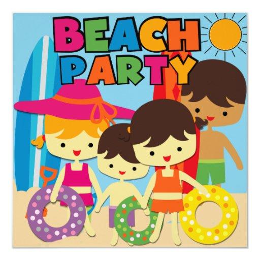"""Invitaciones del cumpleaños de la playa de la invitación 5.25"""" x 5.25"""""""