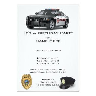 Invitaciones del cumpleaños de la policía invitación 12,7 x 17,8 cm