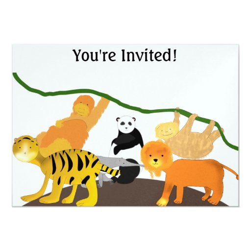 """Invitaciones del cumpleaños de la selva invitación 5"""" x 7"""""""