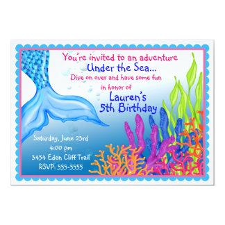 Invitaciones del cumpleaños de la sirena invitación 12,7 x 17,8 cm