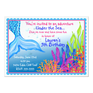 """Invitaciones del cumpleaños de la sirena invitación 5"""" x 7"""""""