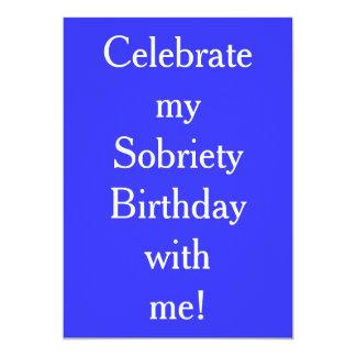 Invitaciones del cumpleaños de la sobriedad invitación 12,7 x 17,8 cm