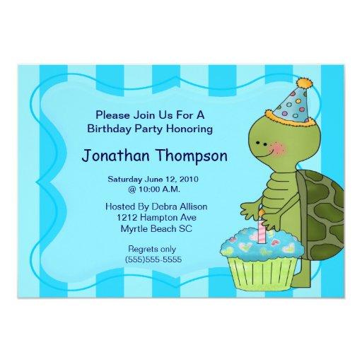 """Invitaciones del cumpleaños de la tortuga invitación 5"""" x 7"""""""