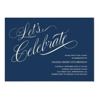 Invitaciones del cumpleaños de los azules marinos invitación 12,7 x 17,8 cm