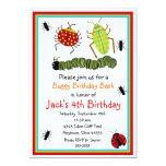 Invitaciones del cumpleaños de los insectos invitación 12,7 x 17,8 cm